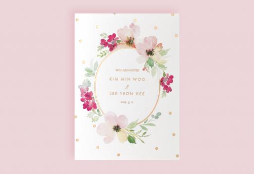 핑크빛 수채화 청첩장